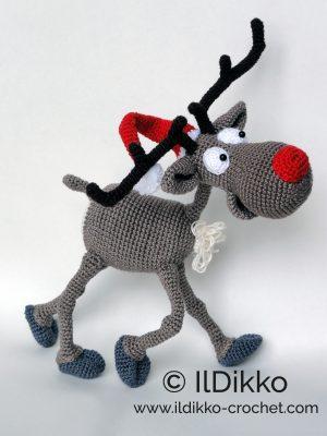035 Crochet Pattern - Reindeer Rudolph toy - Amigurumi PDF file by ... | 400x300